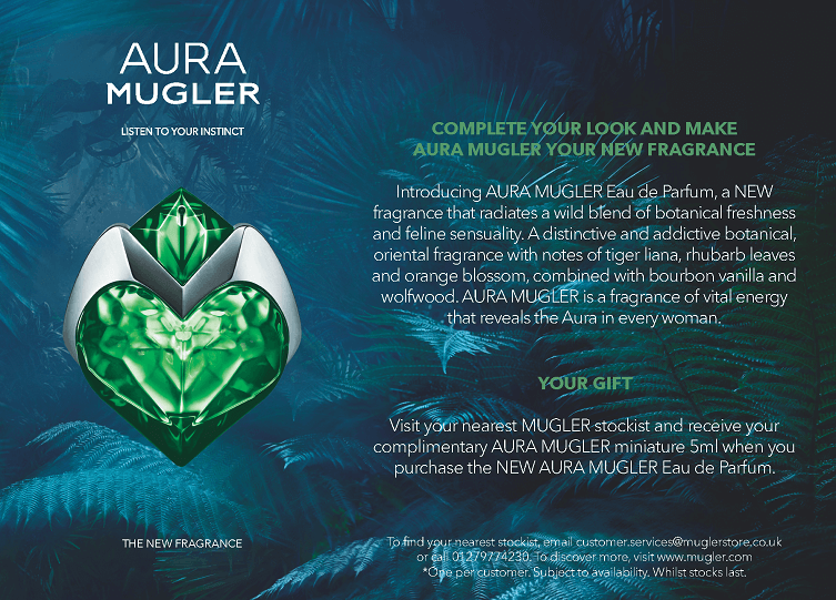 cross media launch for aura mugler - advert