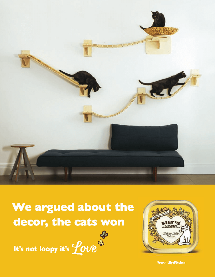 above the line advertising campaign for lily's kitchen - we argued about the decor the cats won