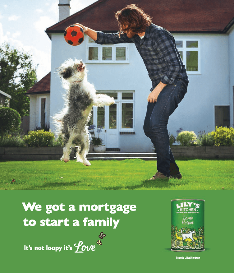 above the line advertising campaign for lily's kitchen - we got a mortgage to start a family