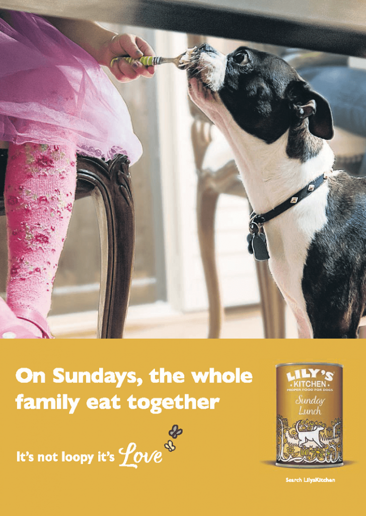 above the line advertising campaign for lily's kitchen - on sundays the whole family eat together