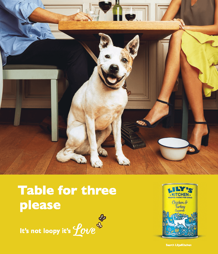 above the line advertising campaign for lily's kitchen - table for three please dog.
