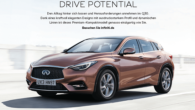 INFINITI Q30 ADVERT GERMAN MARKET HEADER
