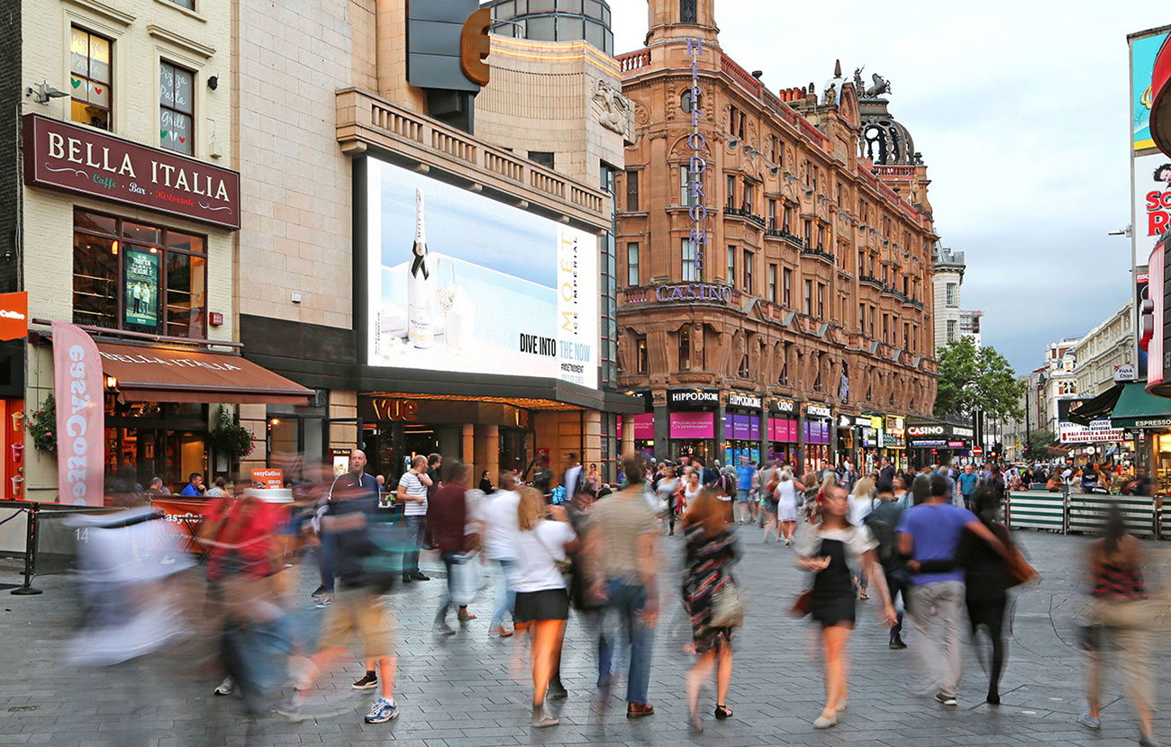 Moet Ice weather-reactive digital OOH in Leicester Square - Photo left side