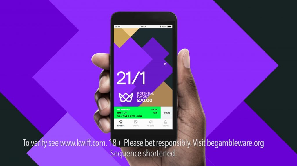 Kwiff app screen LEAP betting clearance delivery