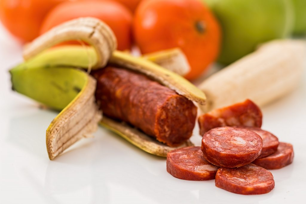 chorizo in banana peel