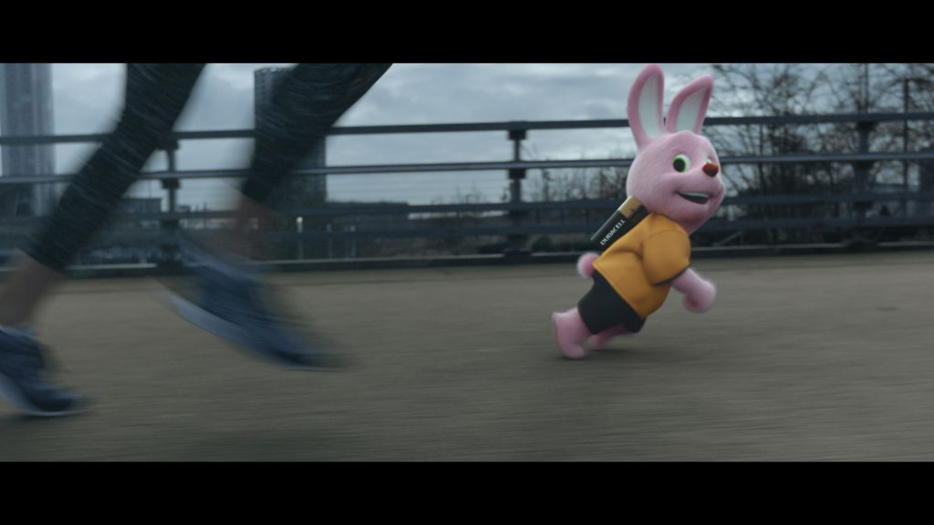 Duracell Disruptive sports commercial runner with motion blur racing Duracell Bunny
