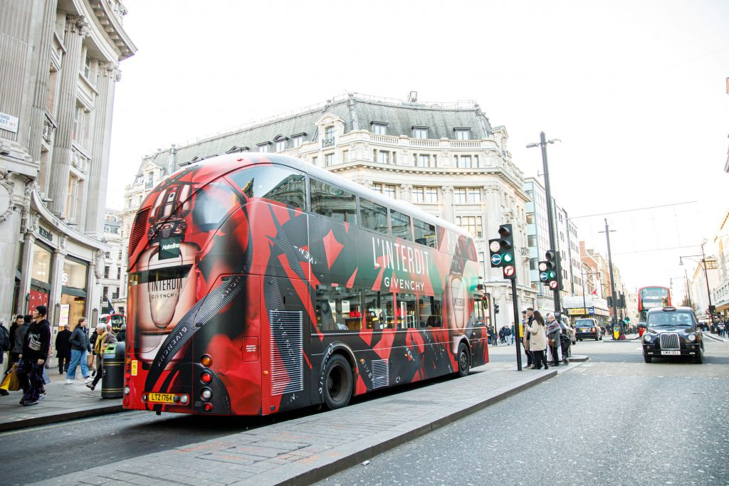 Givenchy L'Interdit Oxford Street Bus Wraps Transit Advertising