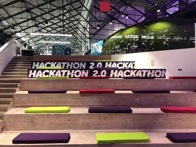 Hackathon vinyl stickers NewDay office benches