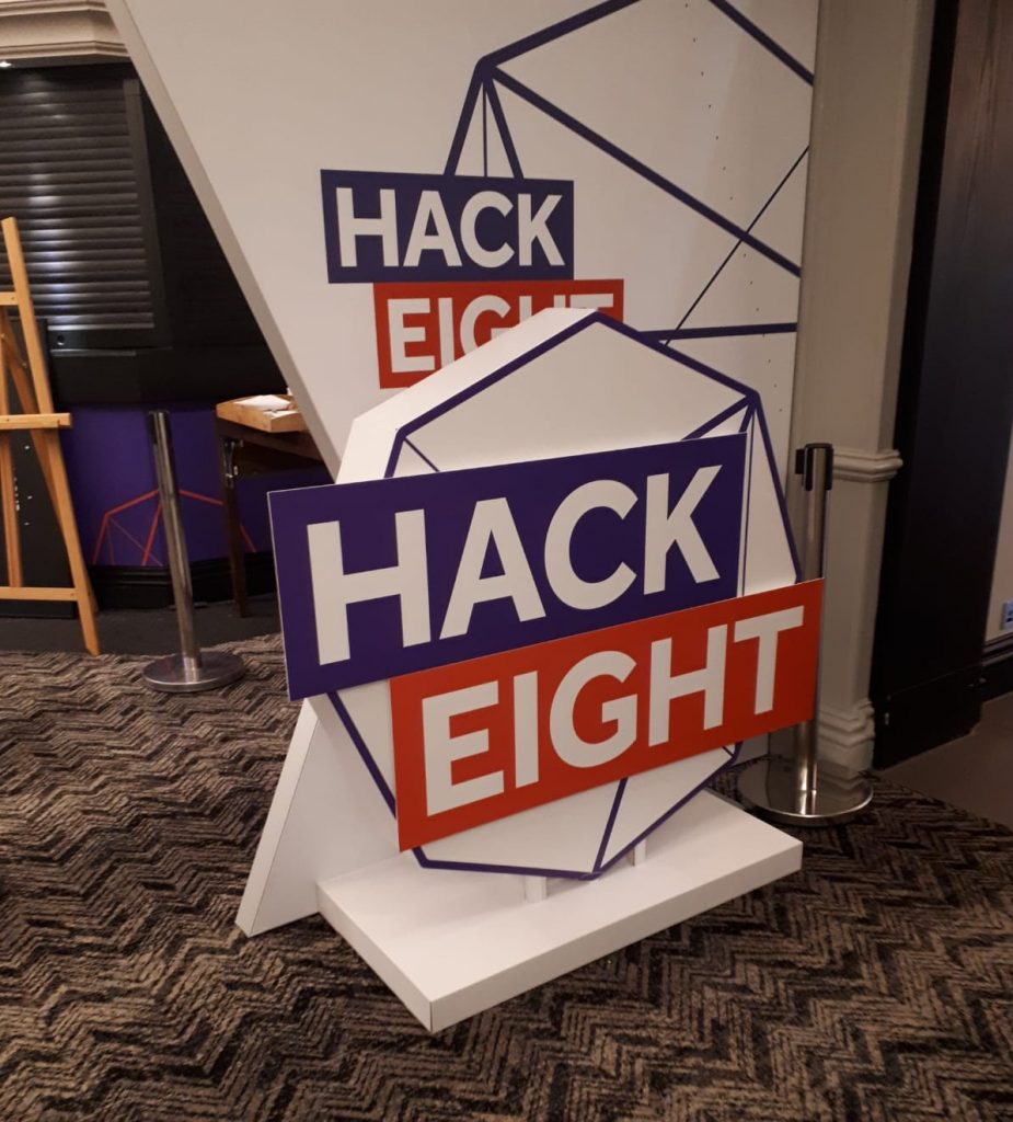 Hackathon life sized logo model event print displays