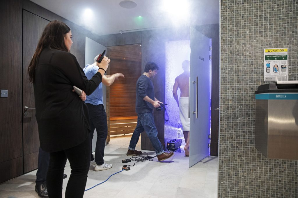 The Mansion Marylebone Behind the scenes Steam room set up
