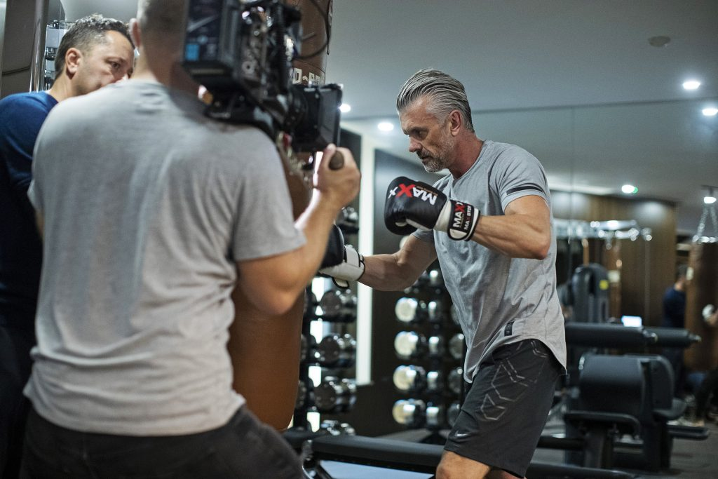 behind the scenes filming Man Boxing in Gym from Luxury Brand Film for the Mansion Marylebone by Clivedale London