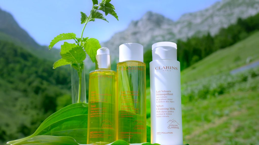 Clarins Cleansing range multiplatform video and programmatic audio ads - screen grab of 3 products