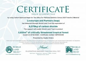 World Land Trust Certificate Census Carbon Offsetting 2