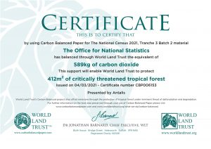World Land Trust Certificate Census Carbon Offsetting 3