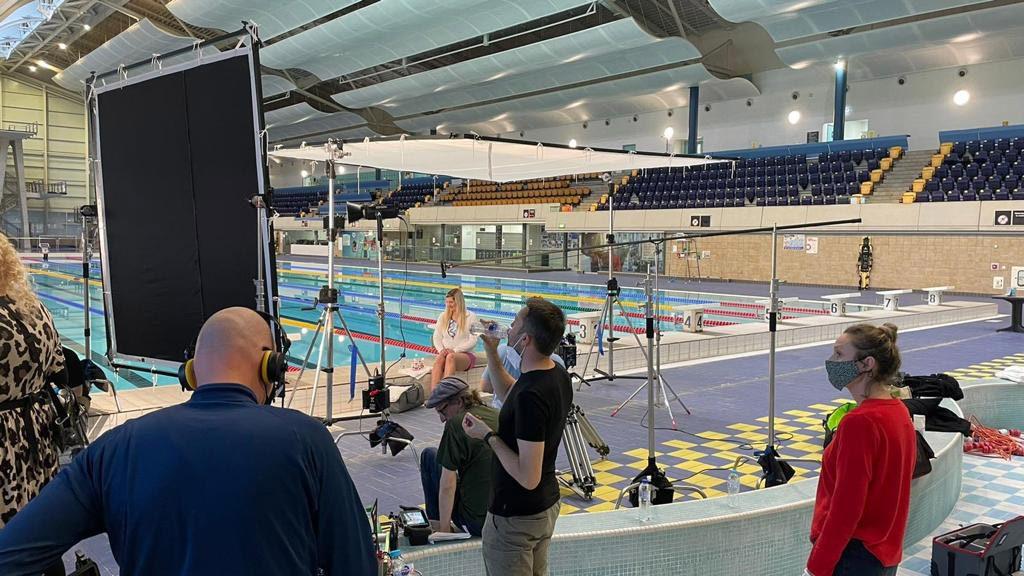 Tetley Cold Infusions Filming with Rebecca Adlington at Manchester Aquatics Centre