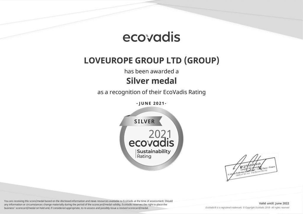 EcoVadis_ Silver Medal Rating_Certificate for LEAP_2021