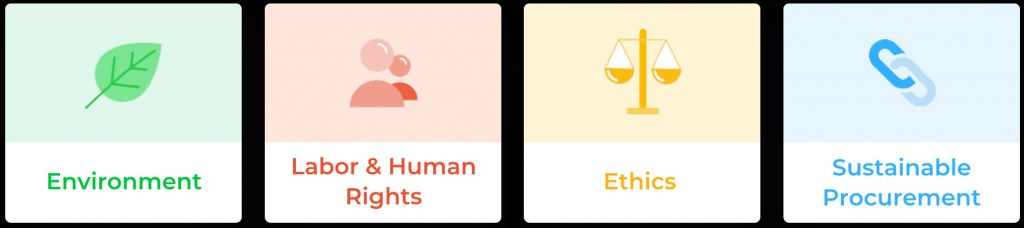 Ecovadis themes Environment, Labour Human Rights, Ethics, Sustainable Procurement