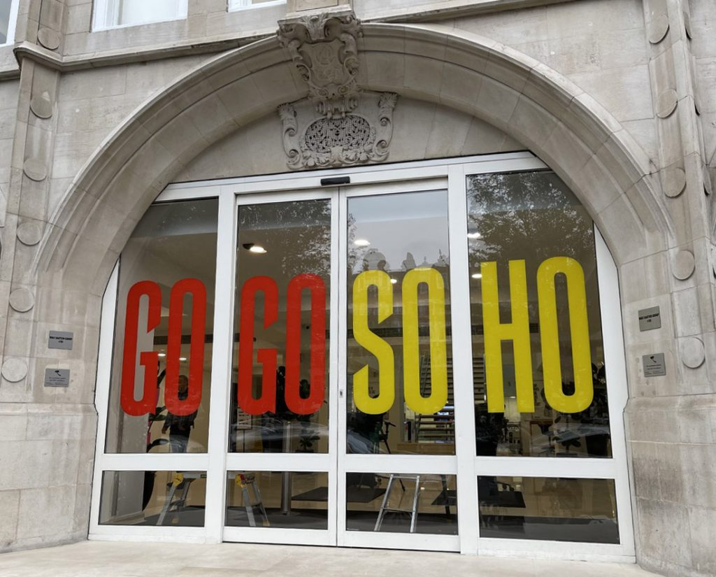 GoGo Soho B-Print Window graphics at M&C Saatchi
