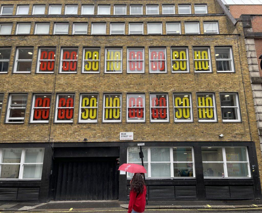 GoGo Soho B-Print Window graphics at M&C Saatchi on Beak Street facing Carnaby Street